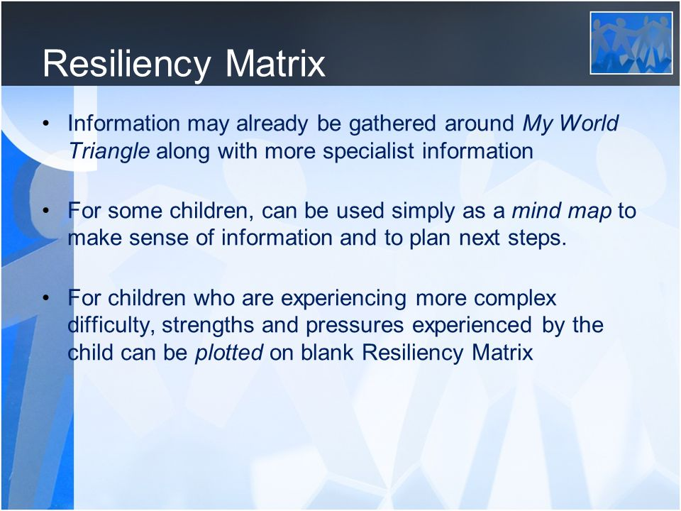 Resiliency Matrix Information may already be gathered around My World Triangle along with more specialist information.