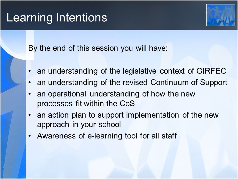 Learning Intentions By the end of this session you will have: