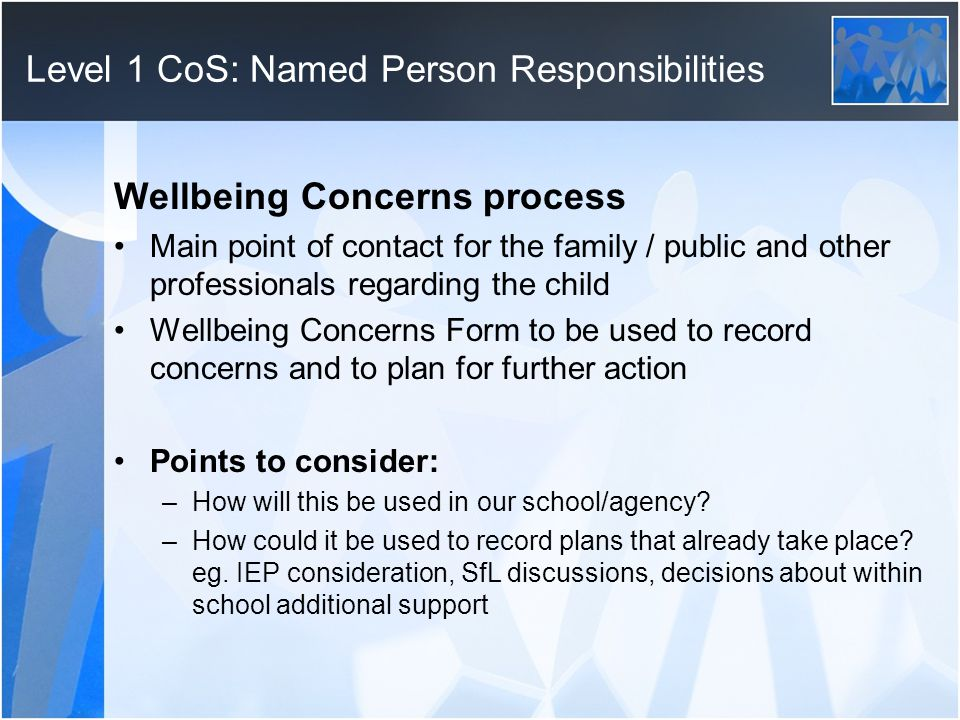 Level 1 CoS: Named Person Responsibilities