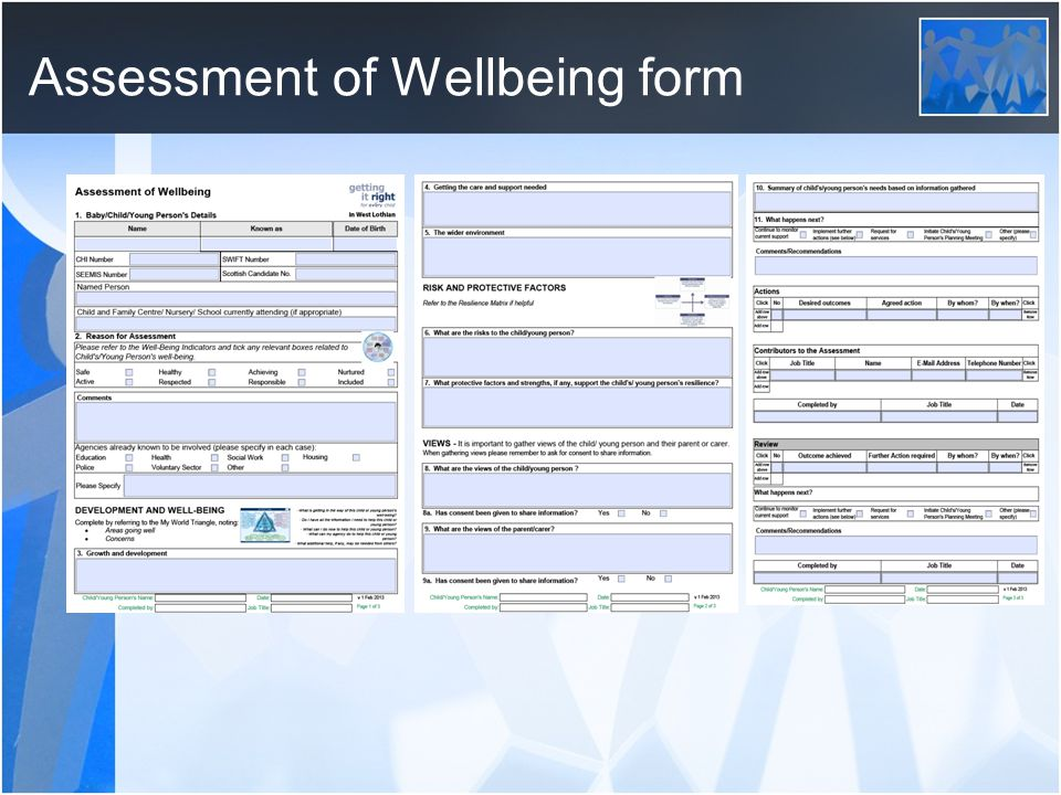 Assessment of Wellbeing form