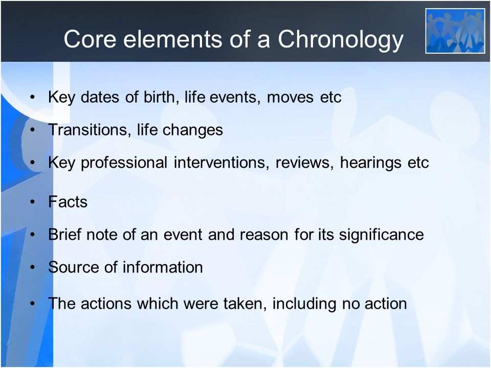 Core elements of a Chronology