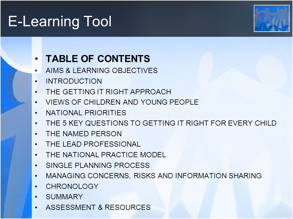 E-Learning Tool TABLE OF CONTENTS AIMS & LEARNING OBJECTIVES