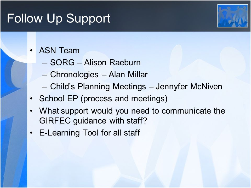 Follow Up Support ASN Team SORG – Alison Raeburn