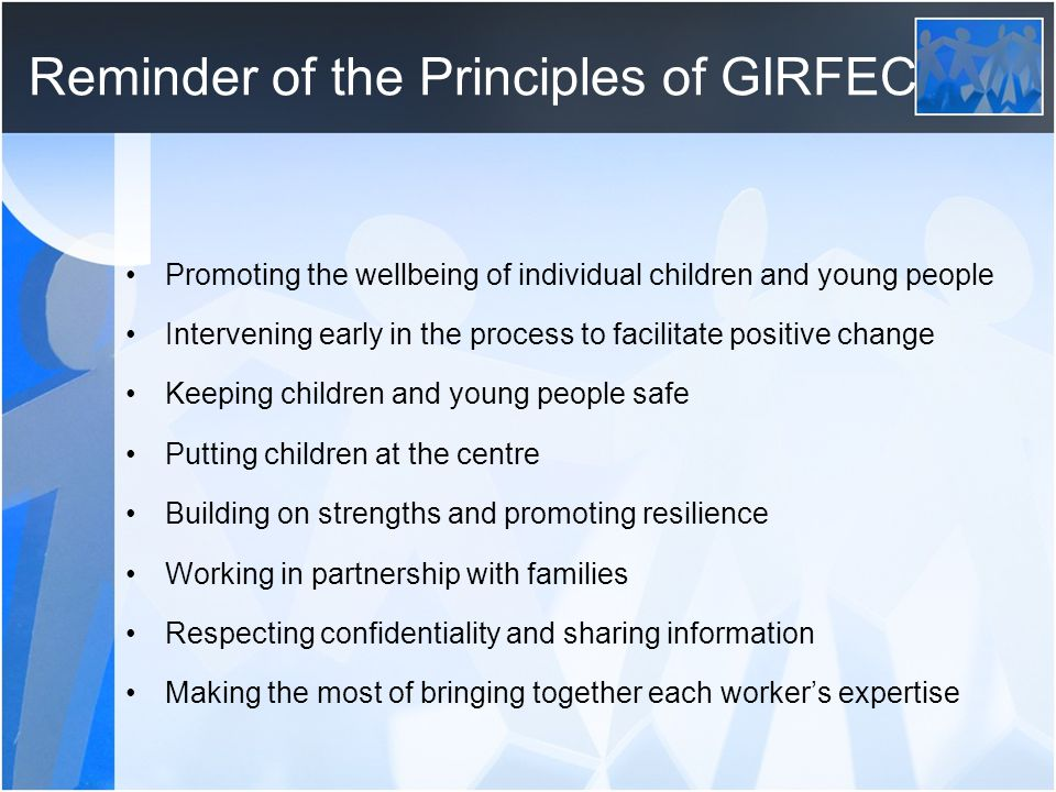 Reminder of the Principles of GIRFEC