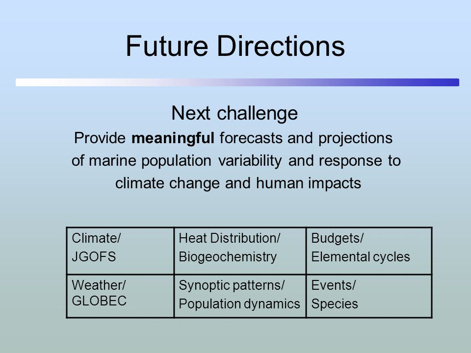Future Directions Next challenge