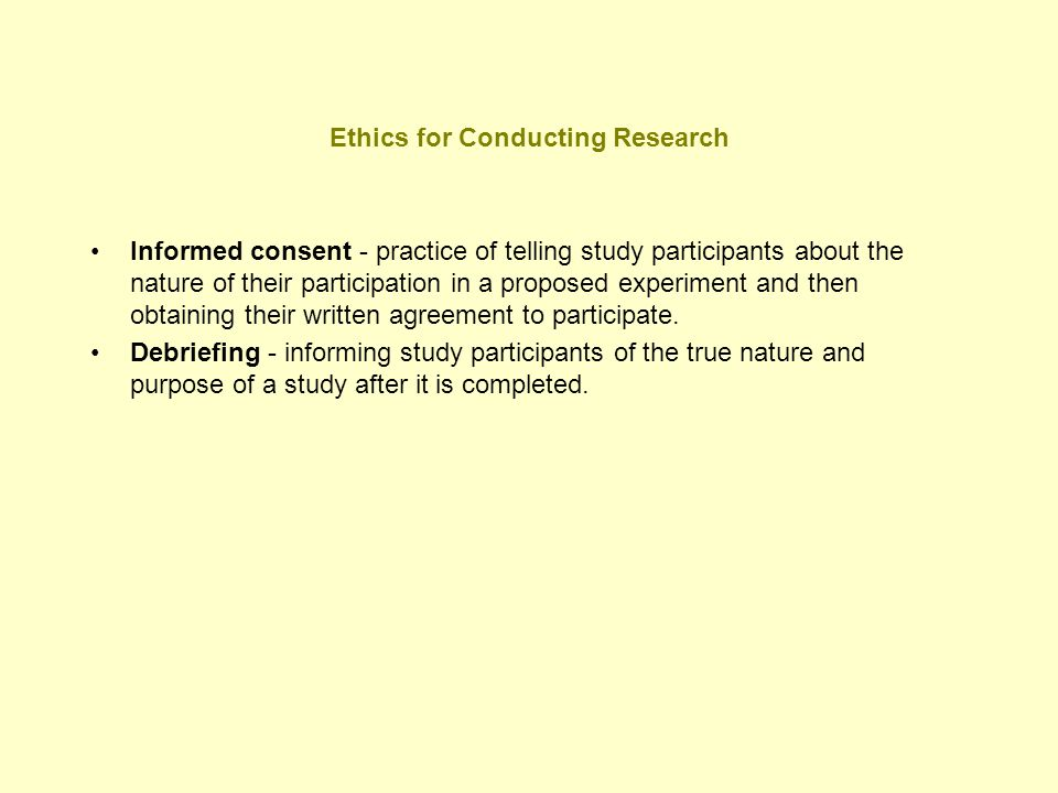 Ethics for Conducting Research
