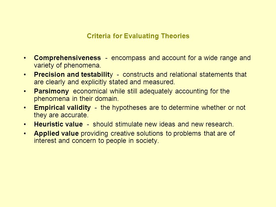 Criteria for Evaluating Theories