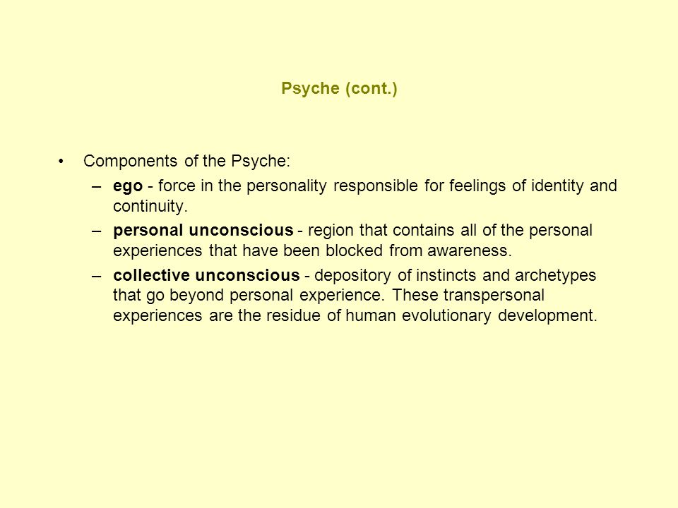 Psyche (cont.) Components of the Psyche: ego - force in the personality responsible for feelings of identity and continuity.