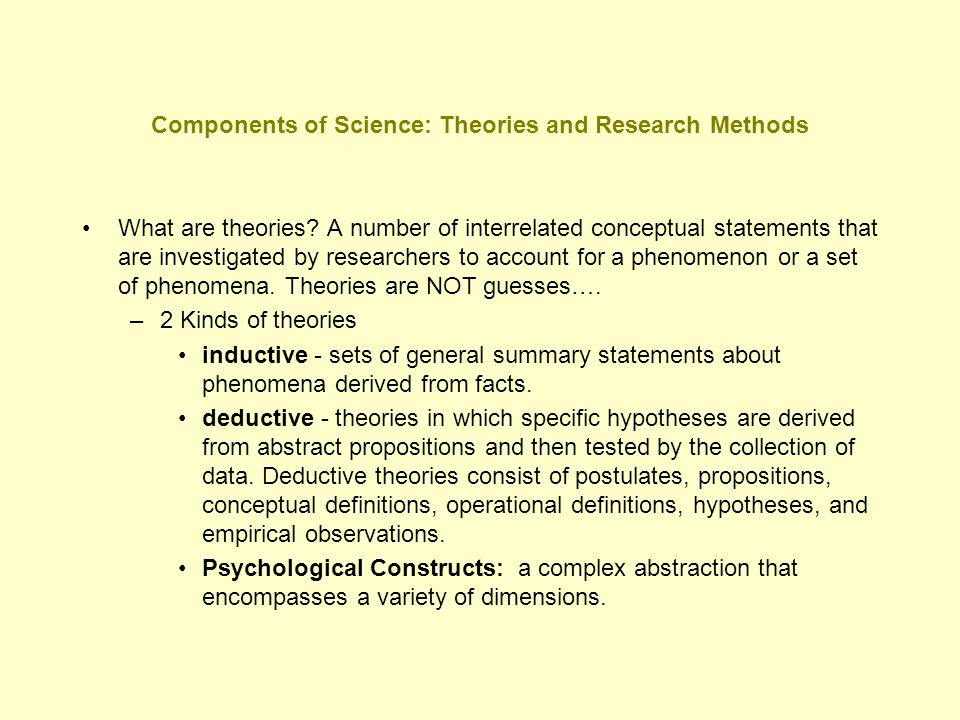 Components of Science: Theories and Research Methods