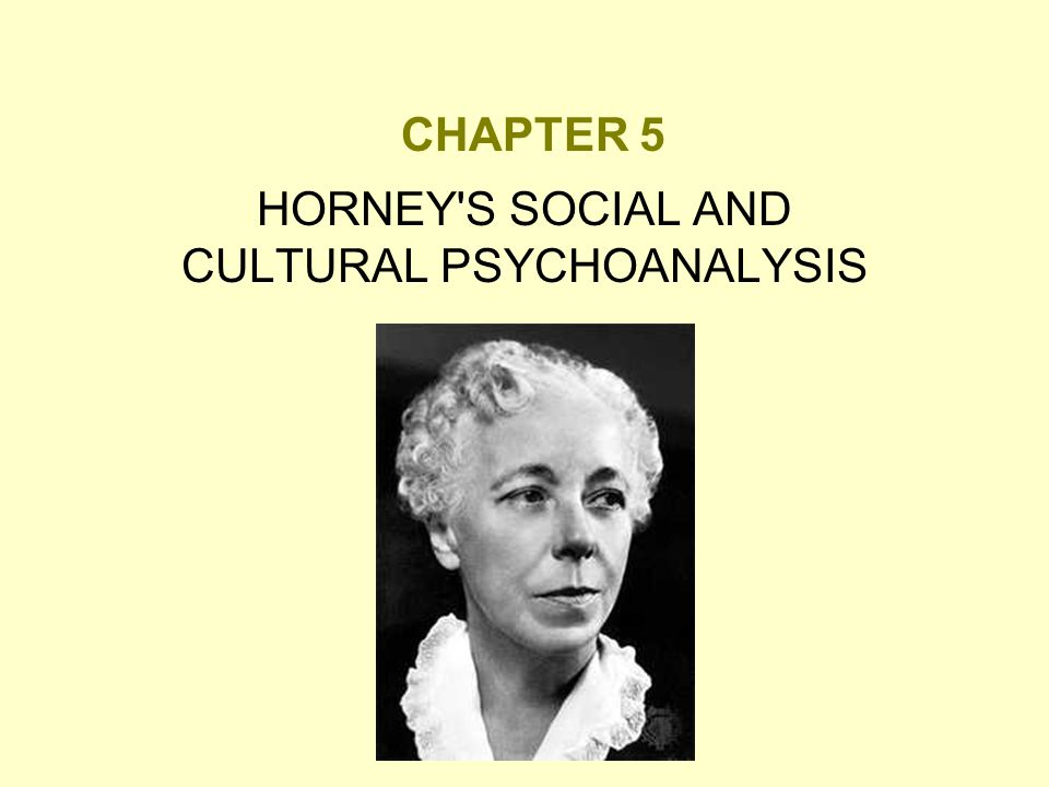HORNEY S SOCIAL AND CULTURAL PSYCHOANALYSIS