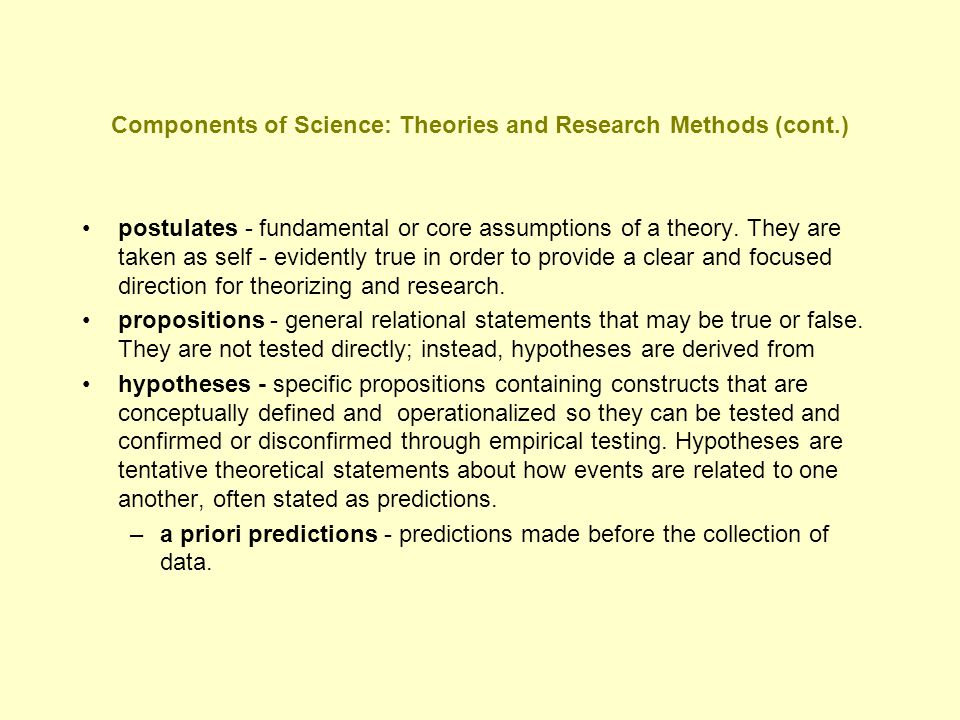 Components of Science: Theories and Research Methods (cont.)