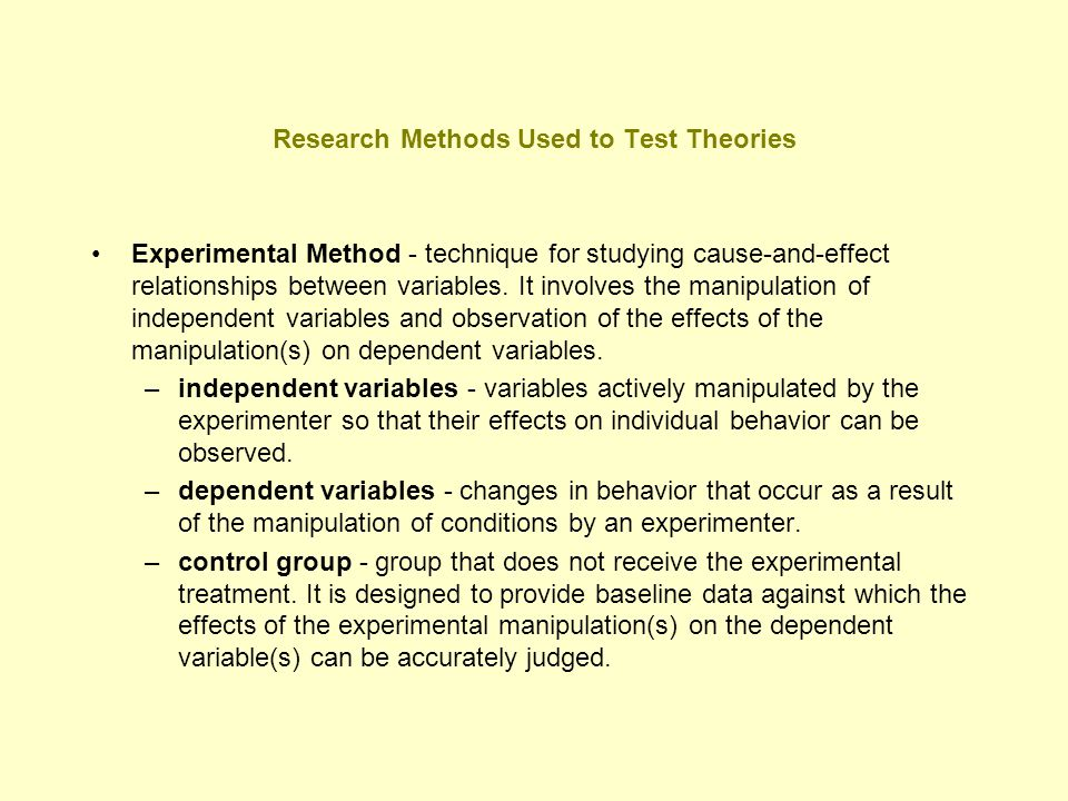 Research Methods Used to Test Theories