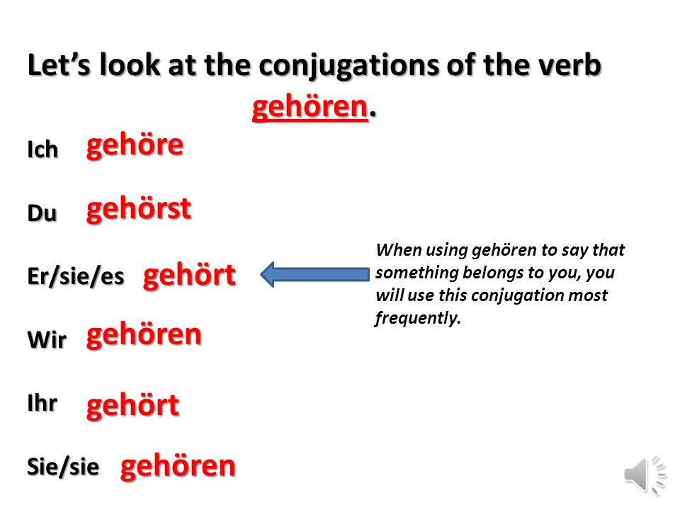 Let's look at the conjugations of the verb gehören.
