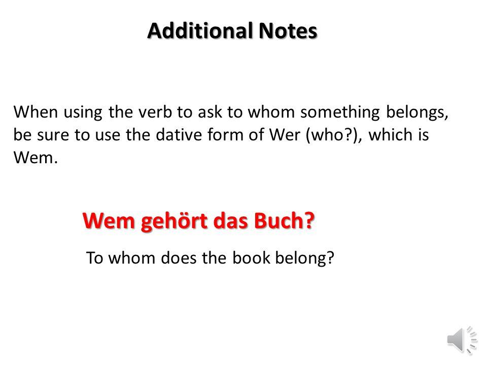 Additional Notes Wem gehört das Buch