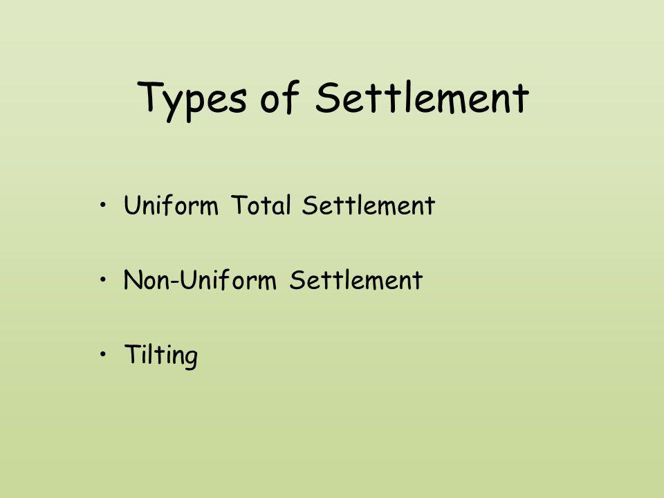 Types of Settlement Uniform Total Settlement Non-Uniform Settlement