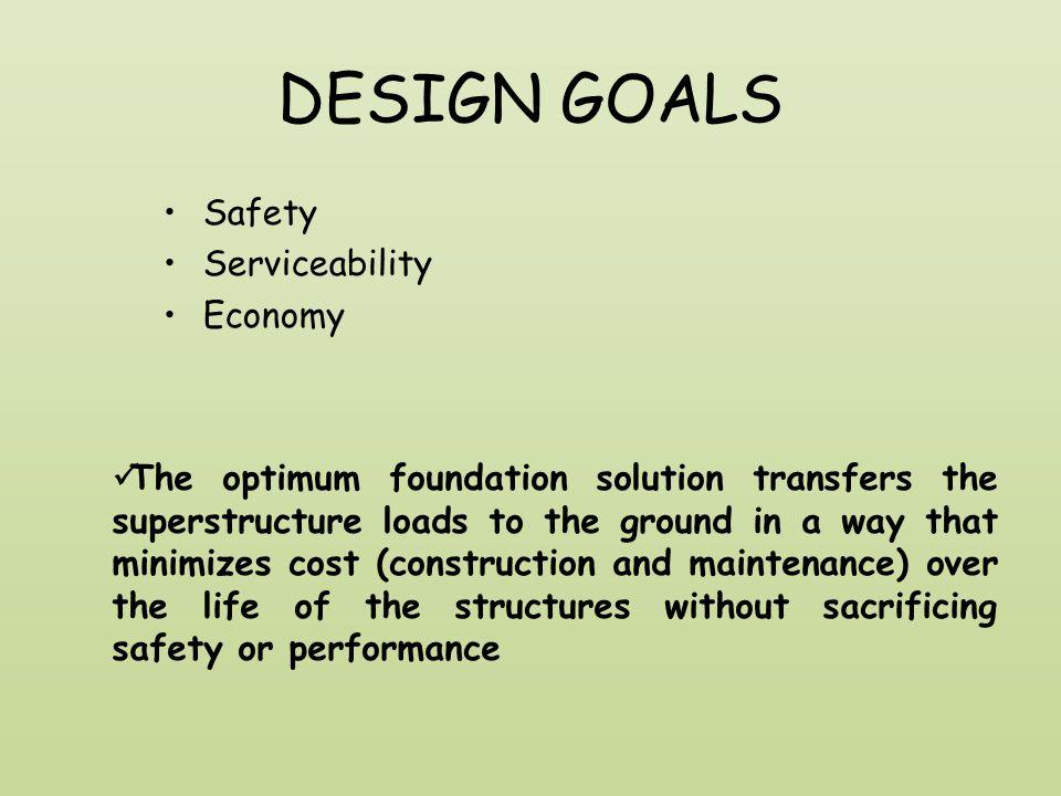 DESIGN GOALS Safety Serviceability Economy