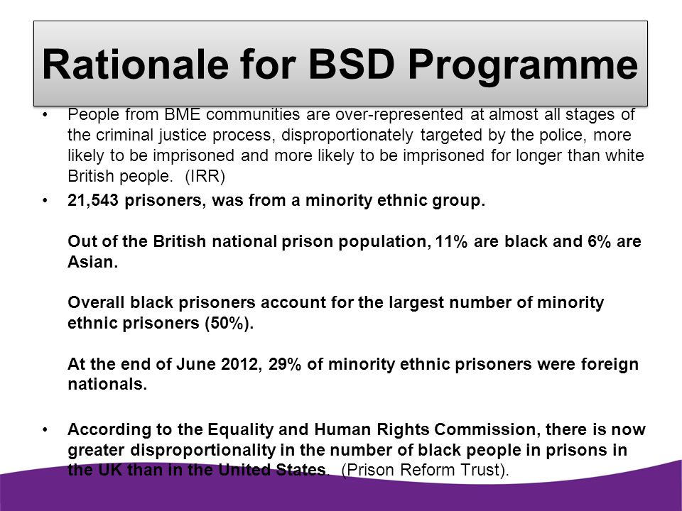 Rationale for BSD Programme
