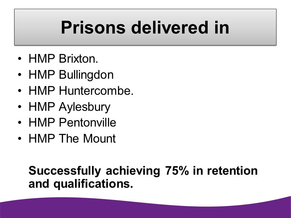 Prisons delivered in HMP Brixton. HMP Bullingdon HMP Huntercombe.