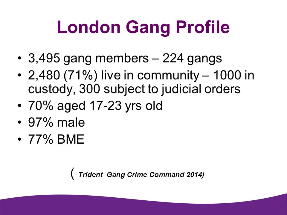 London Gang Profile 3,495 gang members – 224 gangs
