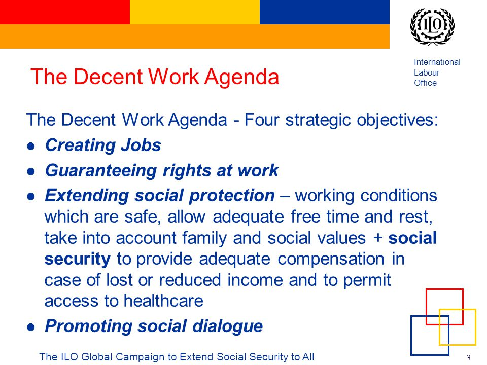 The Decent Work Agenda The Decent Work Agenda - Four strategic objectives: Creating Jobs. Guaranteeing rights at work.