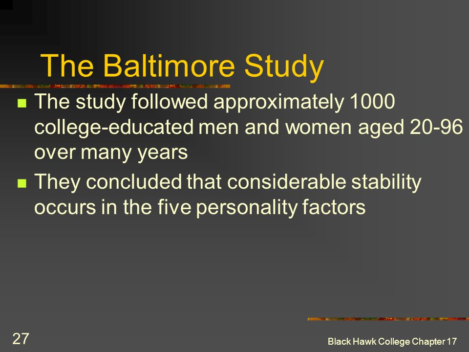 The Baltimore Study The study followed approximately 1000 college-educated men and women aged 20-96 over many years.