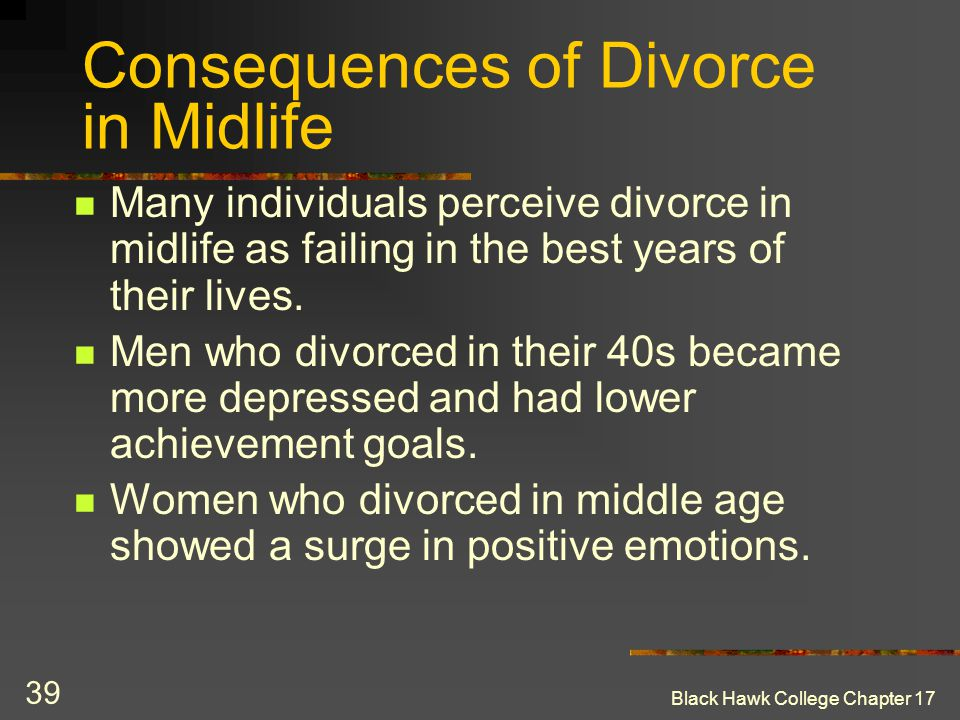 Consequences of Divorce in Midlife