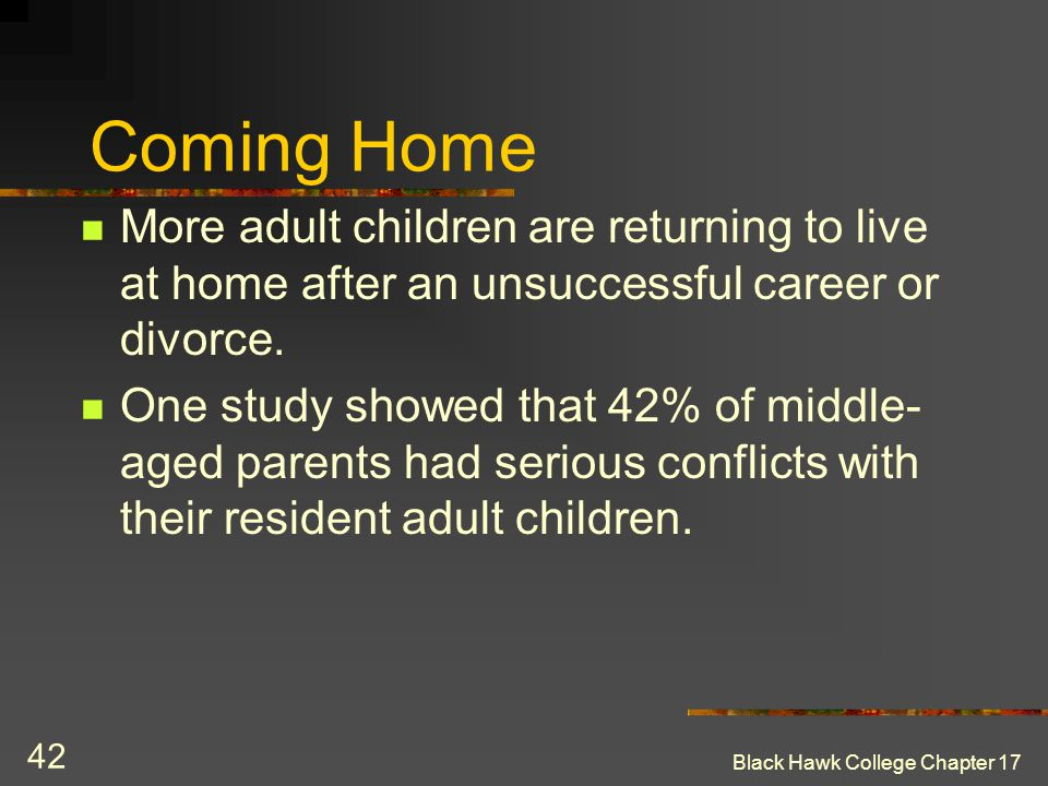 Coming Home More adult children are returning to live at home after an unsuccessful career or divorce.