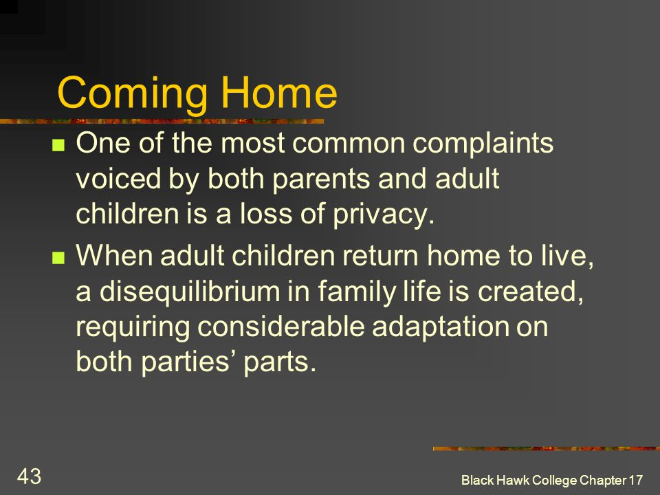 Coming Home One of the most common complaints voiced by both parents and adult children is a loss of privacy.