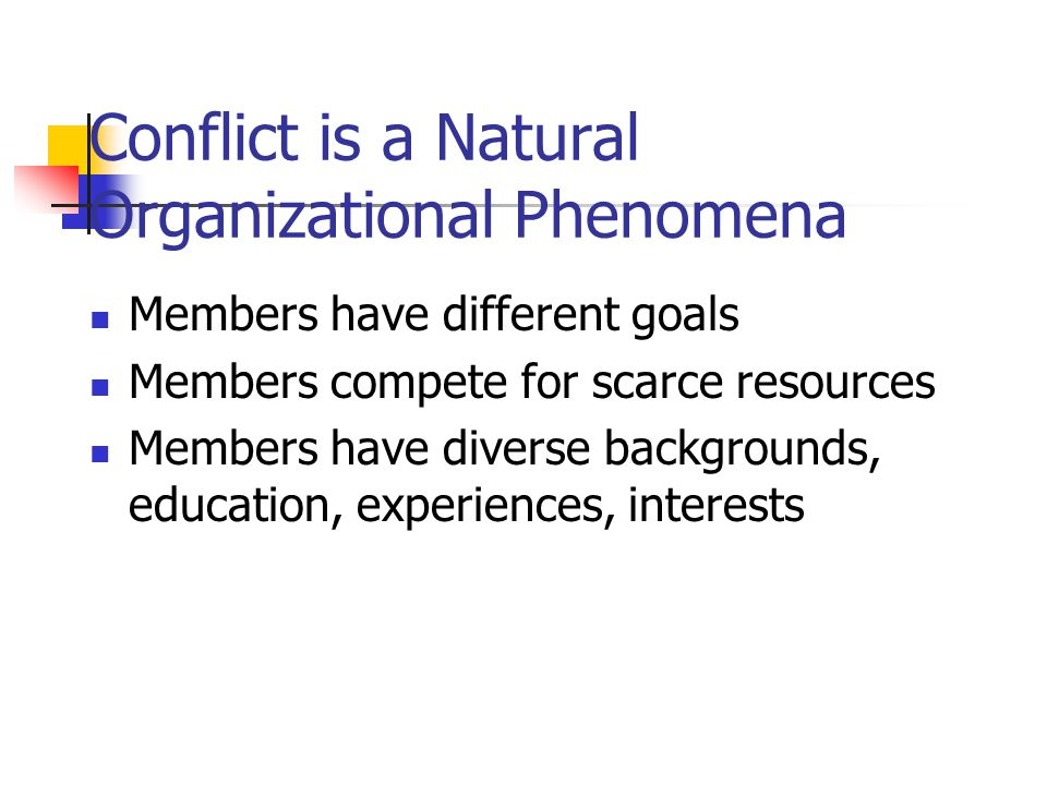 Conflict is a Natural Organizational Phenomena