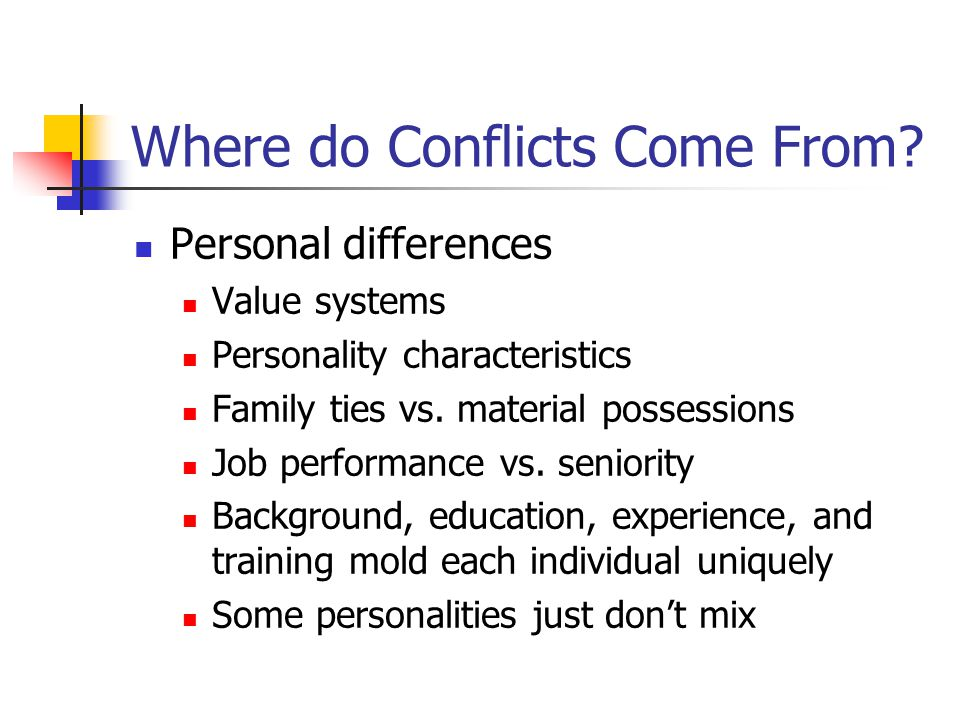 Where do Conflicts Come From