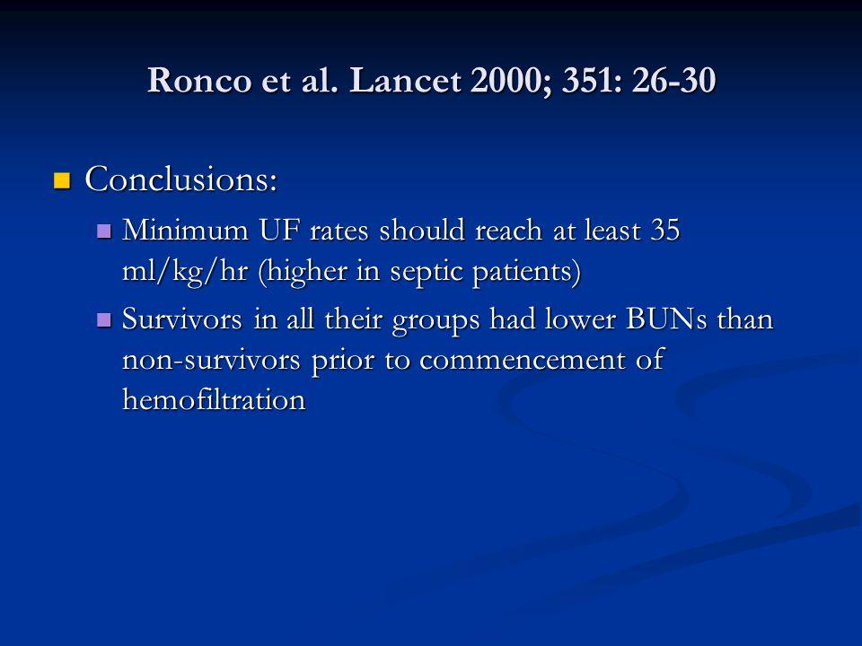 Ronco et al. Lancet 2000; 351: 26-30 Conclusions: