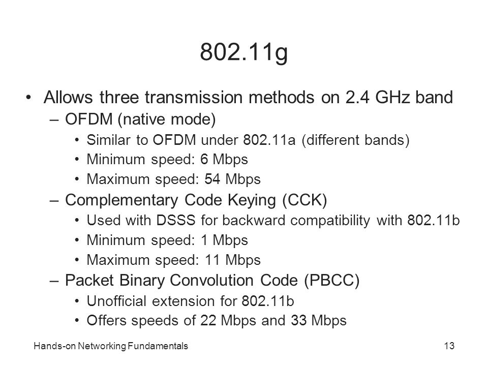 802.11g Allows three transmission methods on 2.4 GHz band