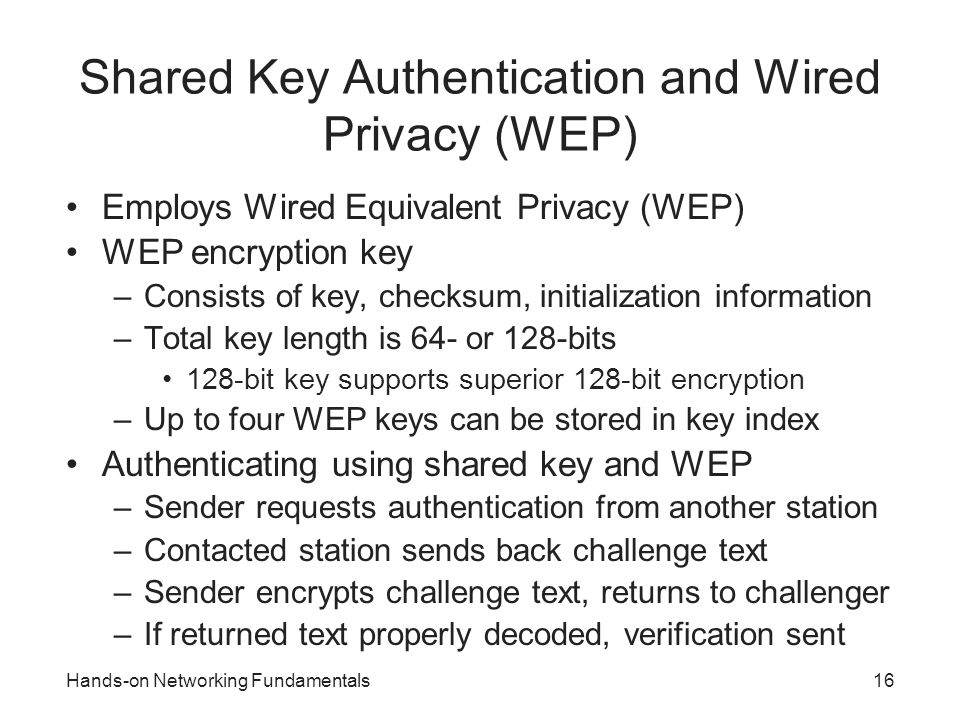 Shared Key Authentication and Wired Privacy (WEP)