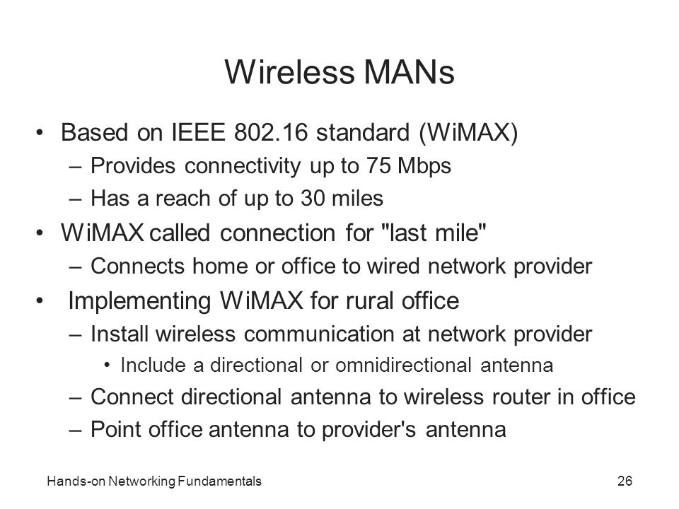 Wireless MANs Based on IEEE 802.16 standard (WiMAX)