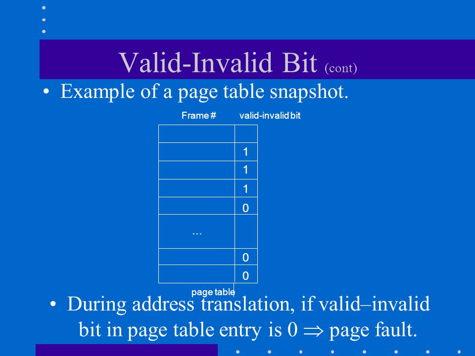 Valid-Invalid Bit (cont)