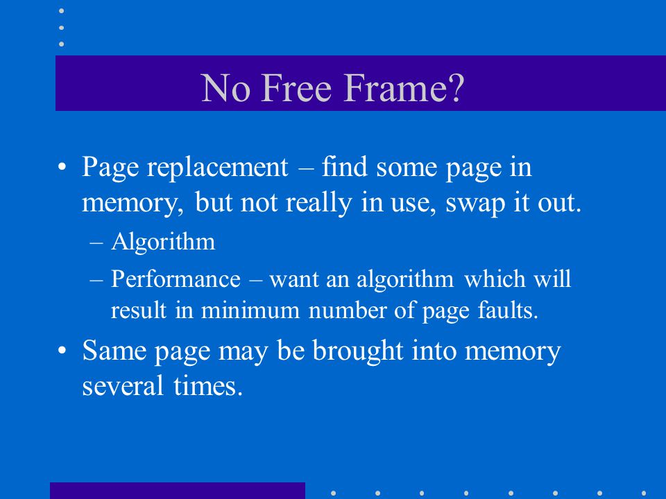 No Free Frame Page replacement – find some page in memory, but not really in use, swap it out. Algorithm.