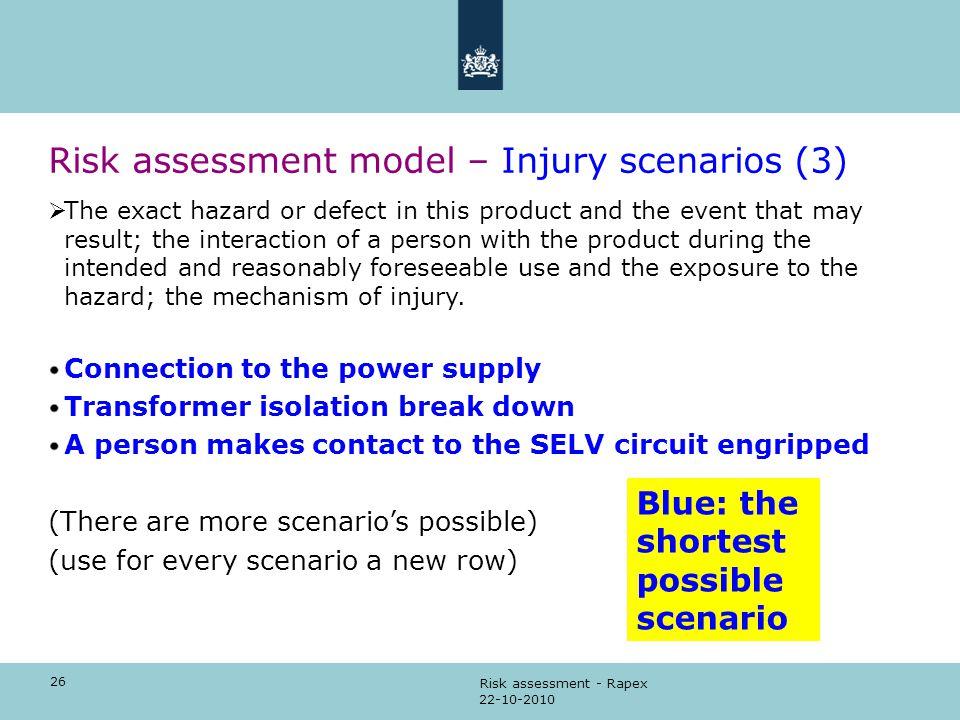Risk assessment model – Injury scenarios (3)