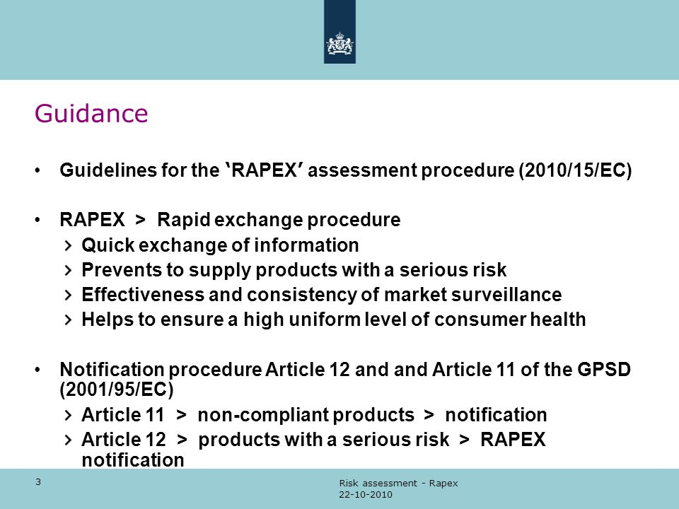 Guidance Guidelines for the 'RAPEX' assessment procedure (2010/15/EC)
