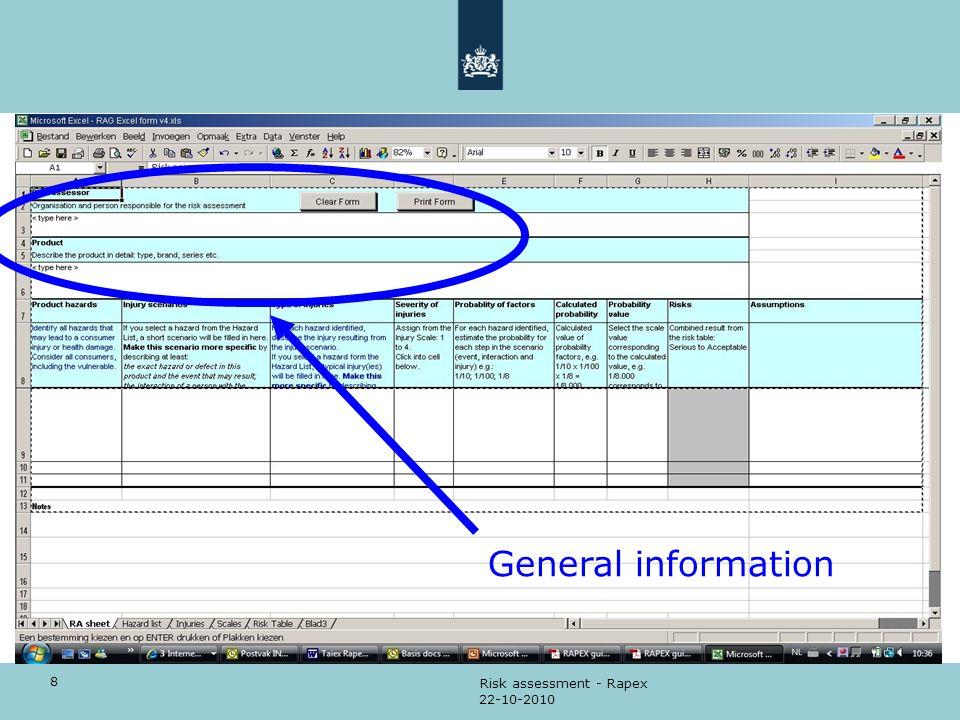 General information Risk assessment - Rapex 22-10-2010