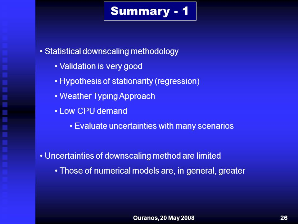 Summary - 1 Statistical downscaling methodology