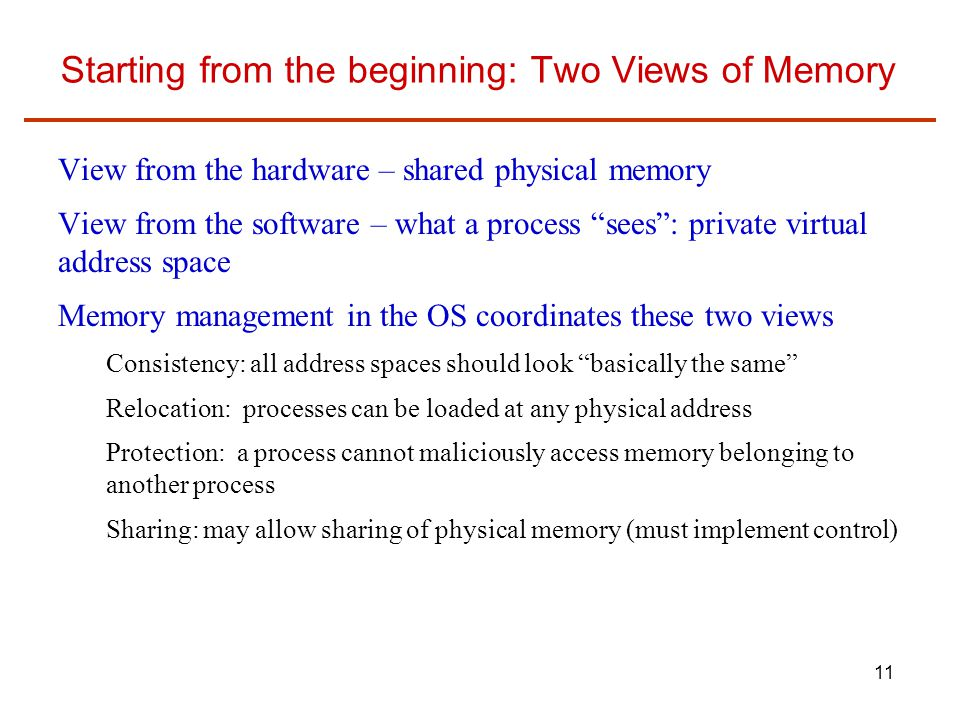 Starting from the beginning: Two Views of Memory