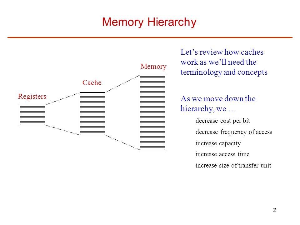Memory Hierarchy Let's review how caches work as we'll need the terminology and concepts. As we move down the hierarchy, we …