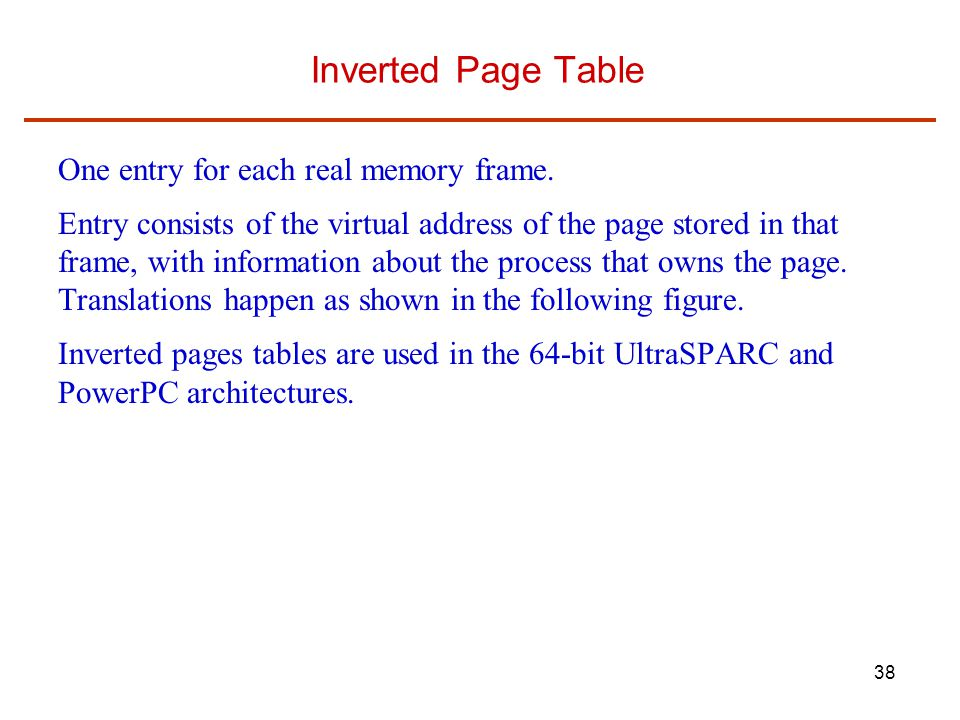 Inverted Page Table One entry for each real memory frame.