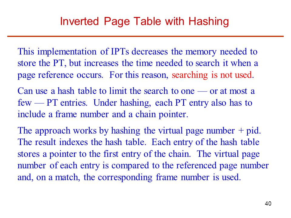 Inverted Page Table with Hashing