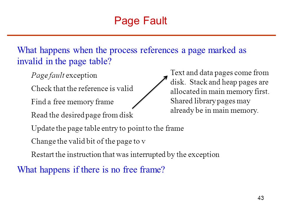 Page Fault What happens when the process references a page marked as invalid in the page table Page fault exception.