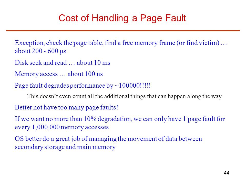 Cost of Handling a Page Fault