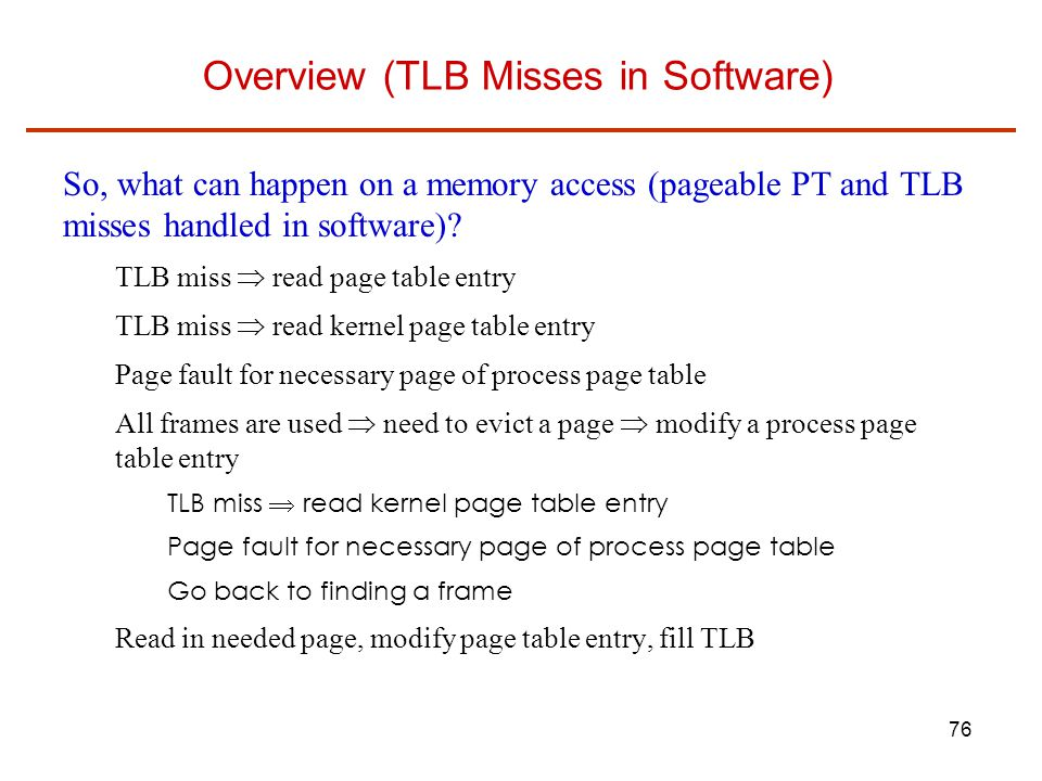 Overview (TLB Misses in Software)