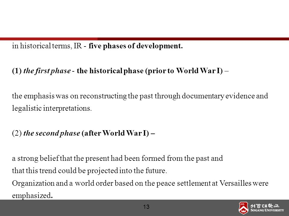 in historical terms, IR - five phases of development.