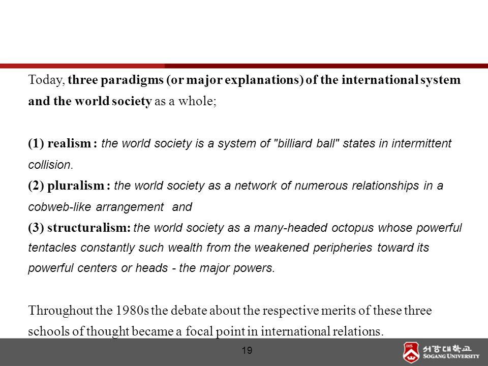 Today, three paradigms (or major explanations) of the international system and the world society as a whole;
