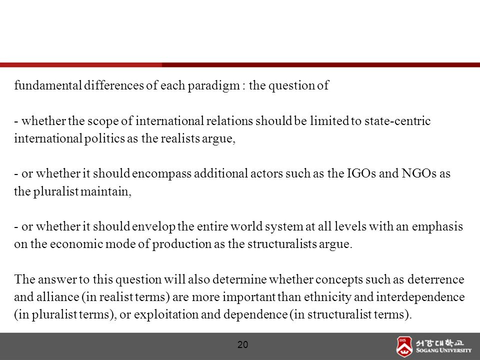 fundamental differences of each paradigm : the question of